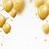 Celebration background with gold confetti and balloons. Illustration of Celebration background with gold confetti and balloons royalty free illustration