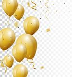 Celebration background with gold confetti and balloons. Illustration of Celebration background with gold confetti and balloons, isolated on transparent Royalty Free Stock Photo