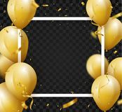 Celebration background with gold confetti and balloons. Illustration of Celebration background with gold confetti and balloons, isolated on transparent Stock Photography
