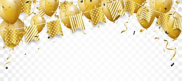 Celebration background with gold confetti and balloons stock illustration