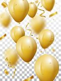 Celebration background with gold confetti and balloons. Illustration of Celebration background with gold confetti and balloons, isolated on transparent Royalty Free Stock Images