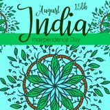 Celebration background for Indian Independence Day with text 15 August, colorful blots and place for your text. Celebration background for Indian Independence Stock Photography