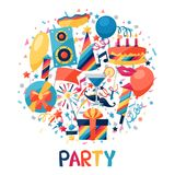 Celebration background with party icons and Stock Photos