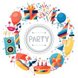 Celebration background with party icons and. Celebration festive background with party icons and objects Stock Photography