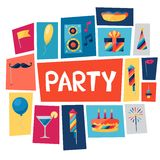 Celebration background with party icons and Stock Images