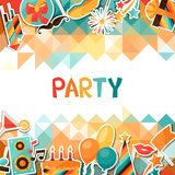 Celebration background with party sticker icons. Celebration festive background with party sticker icons and objects Stock Photo