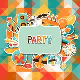 Celebration background with party sticker icons. Celebration festive background with party sticker icons and objects Royalty Free Stock Images