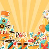 Celebration background with party sticker icons Royalty Free Stock Image