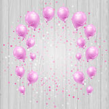 Celebration background with pink balloons and confetti Stock Photo