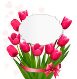 Celebration background with pink tulips. Stock Photos