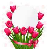 Celebration background with pink tulips. Royalty Free Stock Photo