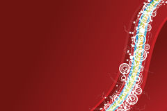 Celebration background in red. Vector illustration of a celebrative background with waved lined art, modern circles and a myriad of stars. Red horizontal Stock Photo