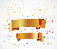 Celebration background with ribbon and confetti Stock Photos