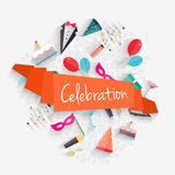 Celebration background with ribbon and party entertainment holid Stock Image