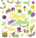Celebration Background with Set Mardi Gras and Carnival Icons and Objects Stock Images