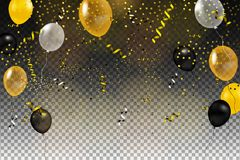 Set of gold, black, yellow, white helium ball isolated in the air vector illustration