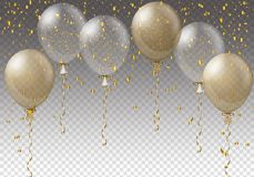 Celebration background template with balloons, confetti and ribbons on transparent background. Vector illustration. Celebration background template with Royalty Free Stock Photos