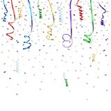 Celebration background template with confetti and. Colorful ribbons. Vector illustration Royalty Free Stock Photos