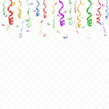 Celebration background template with confetti and colorful ribbons. Vector Stock Photos