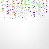 Celebration background template with confetti and colorful ribbons. Vector. Illustration stock illustration