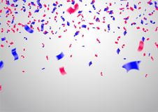 Celebration background template with confetti and red and blue r. Ibbons. eps. 10 Royalty Free Stock Image