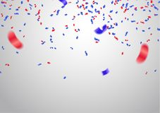 Celebration background template with confetti and red and blue r. Ibbons Stock Photo