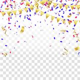 Celebration background template with confetti and red and blue r. Ibbons Stock Images