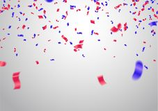 Celebration background template with confetti and red and blue r. Ibbons Stock Photos