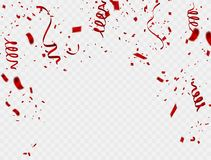 Celebration background template with confetti and red ribbons. Vector illustration confetti; celebrate; red;. Background; ; white Royalty Free Stock Photos