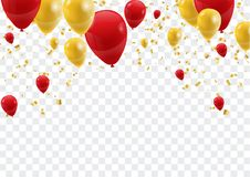 Celebration background template with confetti and ribbons and ba Royalty Free Stock Image