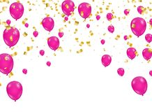 Celebration background template with confetti and ribbons and ba Royalty Free Stock Photos