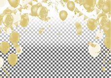 Celebration background template with confetti ribbons illustrati. On. Happy day background with colorful balloons and confetti, illustration.Celebrate brochure stock illustration