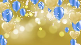 Celebration background template with confetti ribbons illustrati. On. Happy day background with colorful balloons and confetti, illustration.Celebrate brochure vector illustration