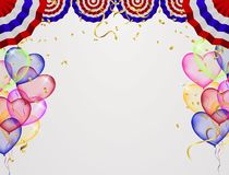 Celebration background template with confetti ribbons illustrati. On. Happy day background with colorful balloons and confetti, illustration.Celebrate brochure royalty free illustration