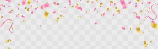 Celebration background template with confetti and ribbons pink. Eps .10 Stock Image