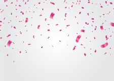 Celebration background template with confetti and ribbons pink. Eps.10 Stock Photos