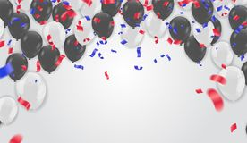 Celebration background template with confetti and ribbons red an. D blue Royalty Free Stock Photography