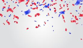 Celebration background template with confetti and ribbons red an. D blue Royalty Free Stock Images
