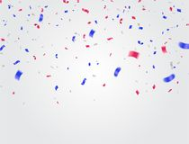 Celebration background template with confetti and ribbons red an. D blue eps.10 Royalty Free Stock Photos