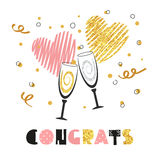 Celebration background with two champagne glasses. Glittering card design for birthday, party invitation, anniversary. Congrats lettering. Vector celebration Vector Illustration