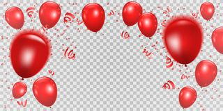 Celebration background wiht red balloons and ribbons. Vector ill. Ustration royalty free illustration
