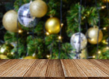 Celebration background of Wood table top on colorful bokeh royalty free stock photography