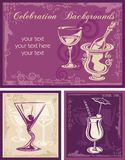 Celebration Backgrounds. Set, great for party invitations, wine cards and menus Stock Images