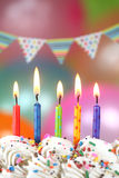 Celebration with Balloons Candles and Cake Stock Photography