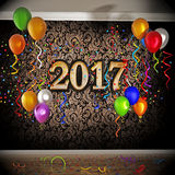 2017 celebration with balloons and confetti. 3D illustration Royalty Free Stock Photo