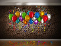 Celebration with balloons and confetti inside a room. 3D illustration.  stock illustration
