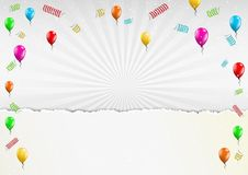 Celebration balloons and torn paper Stock Image