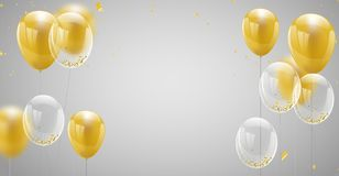 Celebration banner with Gold balloons background. Sale Vector. Illustration Stock Image