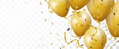 Celebration banner with gold confetti and balloons. Illustration of Celebration banner with gold confetti and balloons Stock Image