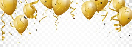 Celebration banner with gold confetti and balloons. Illustration of Celebration banner with gold confetti and balloons Stock Photo
